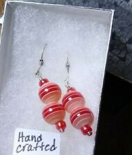 Handcrafted pink red white glass beaded earrings with sterling hoops