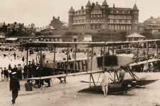 PHOTO TAKEN FROM A 1913 IMAGE OF SOPWORTH SEA PLANE ON GORLESTON  BEACH  NORFOLK