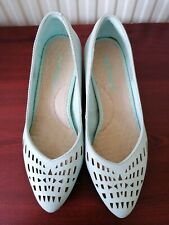 Hush Puppy Wide Court Wedge Shoes In Pale Blue