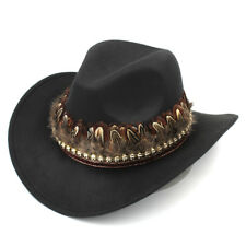 Wool Women Men Western Wide Brim Cowboy Cap Cowgirl Hat Punk Style Feather Band