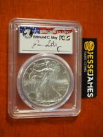 2016 SILVER EAGLE PCGS MS70 EDMUND MOY HAND SIGNED FIRST STRIKE LABEL