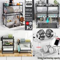 Over Sink Dish Drying Rack 2Tier Stainless Steel Kitchen Shelf Organizer Storage