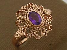 R141 Genuine 9ct Rose Gold Natural AMETHYST Filigree Ring Ornate design size N