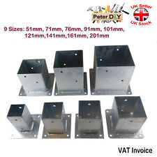 More details for heavy duty galvanised bolt down square post fence foot base support 51-201mm