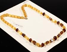 "Vintage 23"" Czech necklace topaz pentagon satin atlas nugget frost glass beads"