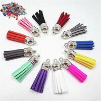 Wholesale 30Pcs/Set Suede Leather Tassel Keychain Pendant Jewelry Finding DIY