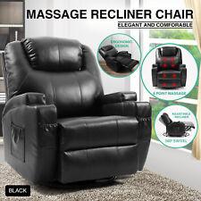 Full Body Massage Recliner Chair Leather Vibrating Heat Lounge 360° Swivel Black