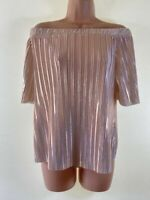 BNWOT RIVER ISLAND rose gold foil plisse bardot off shoulder blouse top size 10
