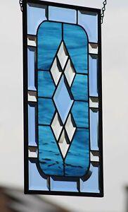 "Beveled Stained Glass Window Panel, Hanging  ≈ 17 .5 x10.5"" Buckaroo Blue"