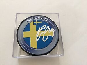 Melker Karlsson Signed Team Sweden Hockey Puck Autographed a