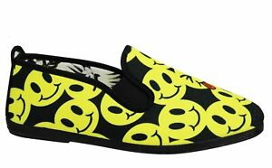 Flossy Style Smiley Print Unisex Espadrille Slip On Plimsolls Shoes 55319 Black