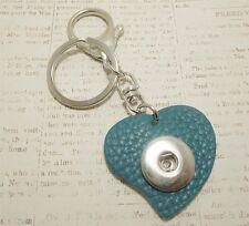 Snap Button Pop It In Noosa Style Heart KEYCHAIN Full Grain Leather Blue Love