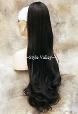 Brown Black Clip in on Ponytail Extension Hair Piece Long Straigth wavy ends #2