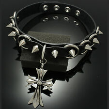 Punk Rock Goth Emo Real leather Choker Necklace RC035 Cross & spikes