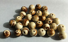 8 beads ceramic round brown beige jewelry creation 0 3/8in