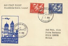 LETTRE PAR AVION PREMIER VOL STOCKHOLM POUR KUALA LUMPUR 1958