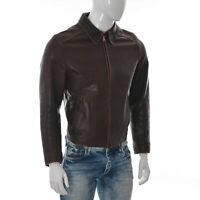 Scout Mens Motorcycle Moto Biker Leather Jacket Short Full Zip Coat Size M Brown