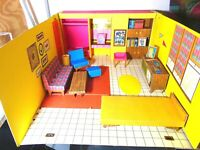 COMPLETE Vintage 1962 BARBIE DREAM HOUSE MATTEL & Accessories ROOM BOX FOLD OUT