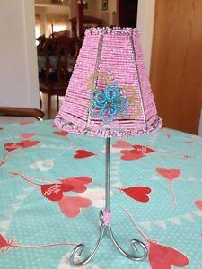 Vintage Pink Blue Green Flower Beaded Metal Tea Light Votive Candle Lamp Holder