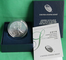 2014-W Burnished BU American Silver Eagle Dollar US Mint ASE Coin COA and Box