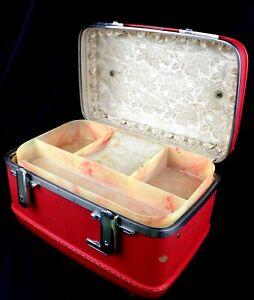 Vintage American Tourister Tiara Red hardshell makeup luggage case w/tray insert