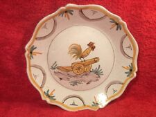Antique French Faience Revolutionary Plate Rooster A Top A Canon c.1790