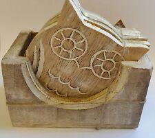 Ensemble de 6 sous-verres hibou en bois dans la case Rétro Vintage Chic Cadeau Bois Blanc Lavé