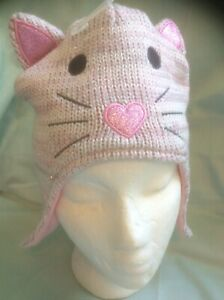 NWT The Childrens Place 1989  Pink Kitty Cat Ear Flap SPARKLE HEART Hat S/M 4-7