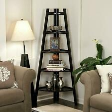 5 Tier Shelves Corner Shelf Stand Wood Display Storage Bookcase Home Furniture