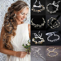 Wedding Hair Accessories Bride Crystal Headband Bridal Hair Vine Pearl Leaf