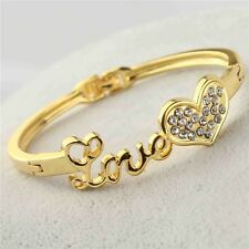 """REAL 18K GOLD FILLED """"LOVE"""" HEART BRACELET MADE WITH SWAROVSKI CLEAR CRYSTALS"""