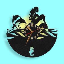 Mermaid Nymph Wall Wood Clock 12inch(30cm) Girls Room Art Decor, Gift Idea #105