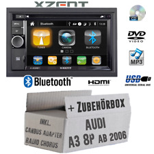 Xzent Autoradio für Audi A3 8P CanBus 2DIN Bluetooth DVD CD USB HDMI Touch Set