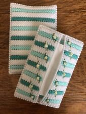 New ListingHandmade Needlepoint Plastic Canvas Pocket Tissue Cover - Aqua Floral
