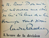Envoi autographe André Tardieu à René Doumic. L'Heure de la décision