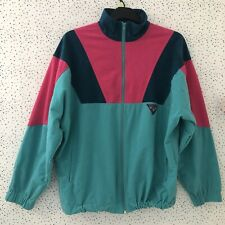 Terinda Turquoise Green Pink Vintage Retro Zip Up Track Top Jacket Size L
