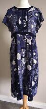 TU Ladies Floral Blue Short Sleeve Floaty Dress Size 16