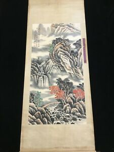 Chinese Old Zhang Daqian Watercolor Scroll Painting Landscape