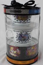 Disney Parks Alice In Wonderland Set of 2 White Tea Cups & Saucers