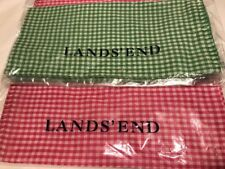 Lands' End 22 X 22 Check Cotton Scarf Choice Of Green Or Fuchsia & White New