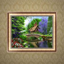 DIY 5D Diamond Painting Bridge River Embroidery Cross Stitch Home Decor Craft