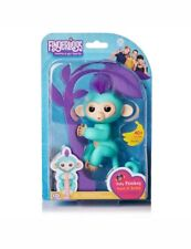 NEW Fingerlings Baby Turquoise Monkey Zoe Purple Hair AUTHENTIC(wowwee)