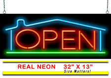 "Real Estate Open With House Neon Sign | Jantec | 32"" x 13"" 