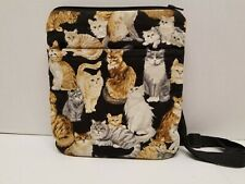 Bible Carrier Quilted With Cat Pattern Adjustable Shoulder Strap