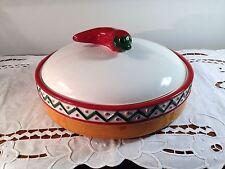 Clay Art Chili Pepper Jalapeño Tortilla Warmer Pie Saver Dish 1999 EC!