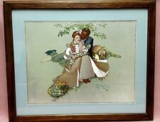 Vintage Norman Rockwell Foil Framed Matted Print Flowers in Tender Bloom 22x20