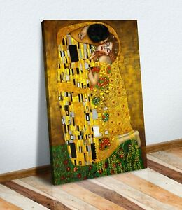 Gustav Klimt The Kiss CANVAS WALL ART PICTURE PRINT PAINTING GOLD