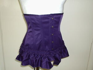 PURPLE UNDERBUST VICTORIAN BUSTLE STYLE LACED CORSET 34 to 30 IN WAIST 14 TO 16