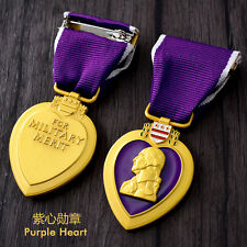 U.s Military Purple Heart Medal Pin Badge Double Clutch Back