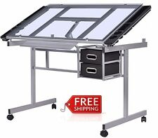 Portable Drawing Drafting Table Desk Adjusting Art Craft Scrapbook Glass Top NEW